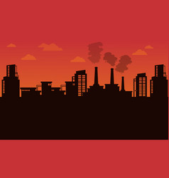 silhouette of industry landscape vector image vector image