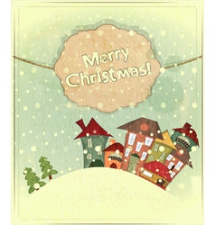 snow and small houses vector image vector image