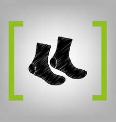 Socks sign black scribble icon in citron vector