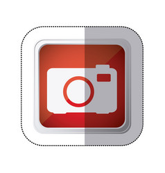 Sticker red square button with silhouette analog vector