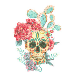 Vintage card with skull and roses vector