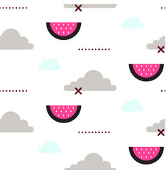 Watermelon in the sky fun seamless pattern vector