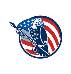 Wild turkey perching american flag vector