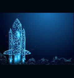 wireframe space rocket launch sign mesh from a vector image vector image