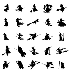 Witch silhouettes set vector
