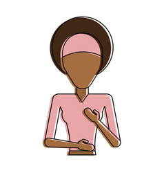 Woman with dark skin with afro hair and headband vector