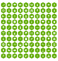 100 forest icons hexagon green vector