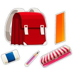 Sticker set of school materials vector