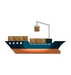 Cargo ship silhouette icon vector