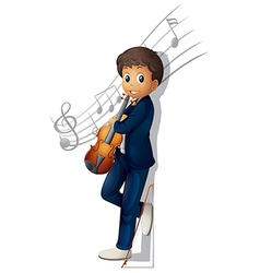A musician with a violin and musical notes vector