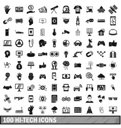 100 hi-tech icons set simple style vector image