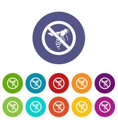 No wasp sign set icons vector