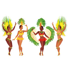 Brazilian samba dancers vector