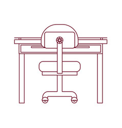 Dark red line contour of closeup work place office vector
