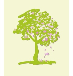 Stylized flowering crabapple tree vector