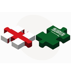 England and saudi arabia flags in puzzle vector