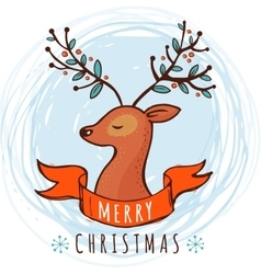 Christmas background and greeting card with deer vector