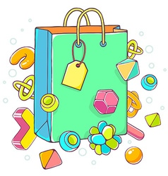 Colorful of green shopping bag on white back vector