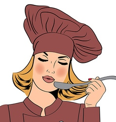Sexy blonde chef woman in uniform taste the food vector