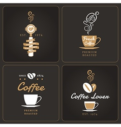 Set of vertical coffee shop badges and labels vector