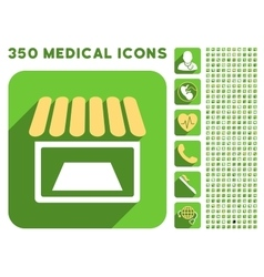 Shop icon and medical longshadow icon set vector
