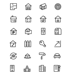 Real estate line icons 3 vector