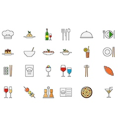Restaurant food colorful icons set vector