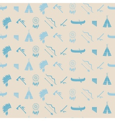 Seamless background with american indian icons vector