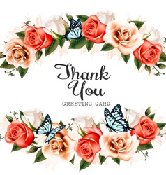 Beautiful thank you greeting card with roses and vector