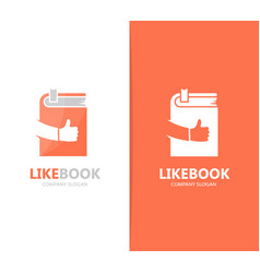 Book and like logo combination library vector