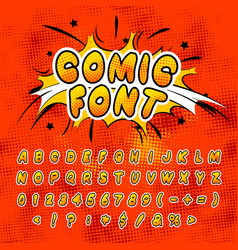 Bright colorful comics font with halftone vintage vector