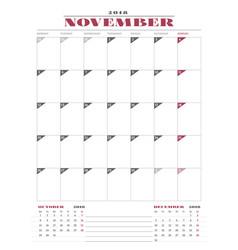 calendar planner template for 2018 year november vector image