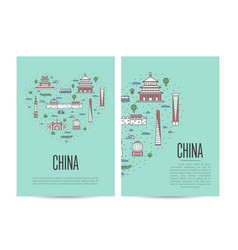 China travel tour booklet set in linear style vector