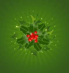 Christmas Holly On Green vector image vector image