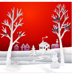 christmas paper banner vector image vector image