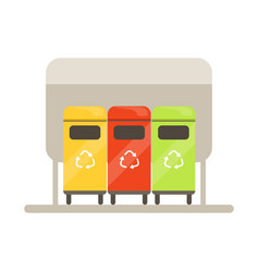 colorful trash recycling containers rubbish bins vector image vector image