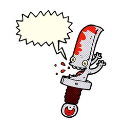 Crazy knife cartoon character with speech bubble vector