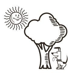 Dog sun tree nature cartoon design vector
