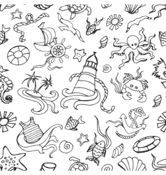 Doodle pattern sea vector image vector image