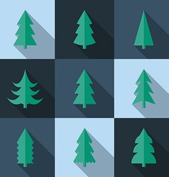 Flat icon set of Christmas trees vector image vector image