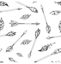 Hand drawn indian arrows seamless hippie vector