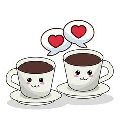 kawaii coffee cups and bubble speech image vector image