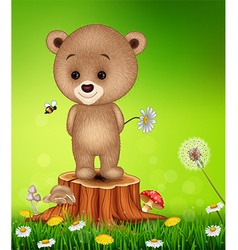 Little bear on tree stump in summer season vector