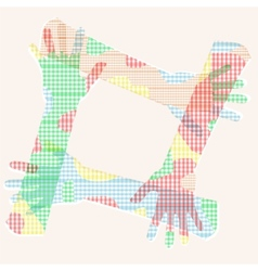 multicolored hand friendship vector image