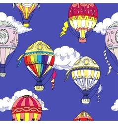 Seamless pattern with clouds and hot air balloons vector