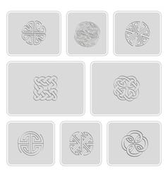 Set of monochrome icons with irish geometric ornam vector image