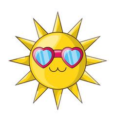 sun funny cartoon vector image