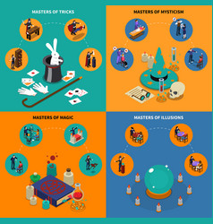 Tricks magic and mysticism isometric compositions vector