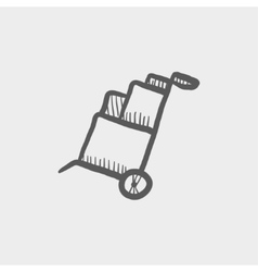 Trolley with boxes sketch icon vector