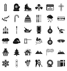 winter celebration icons set simple style vector image vector image